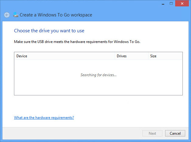 Windows to Go workspace