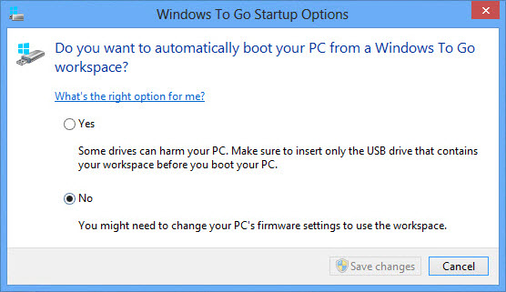 Window to Go Startup options