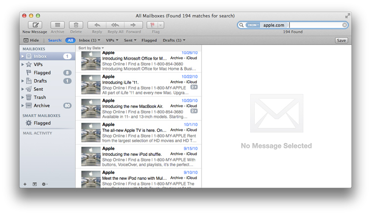 Apple Mail search screenshot