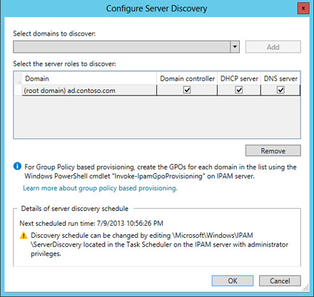 IP address management configure server discovery Windows Server 2012