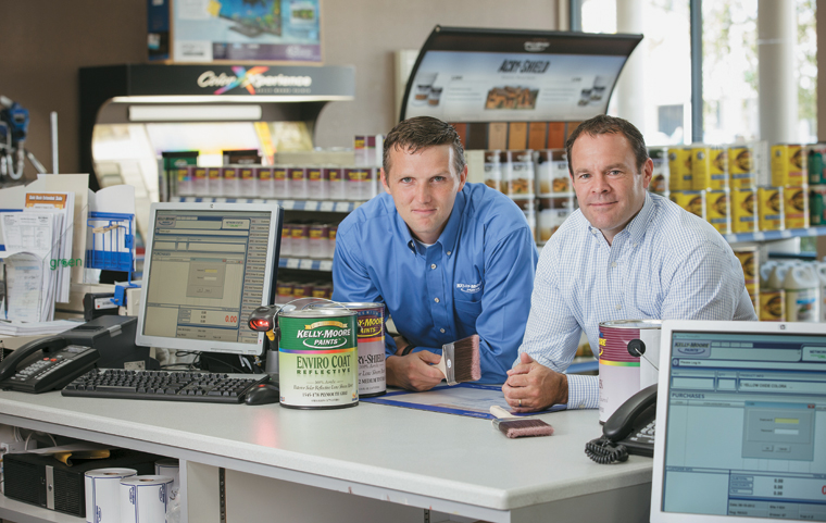 Vojta Borovian (left) and  Jim Maul say the new POS systems installed at Kelly-Moore Paints' 144 stores dramatically improve customer experience.