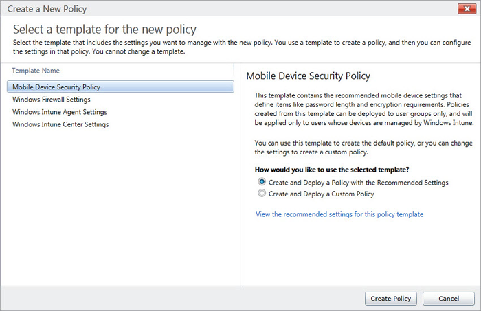 Select template for new policy windows intune