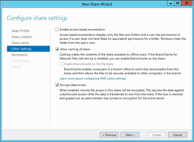 Windows Server 2012 Configure share settings