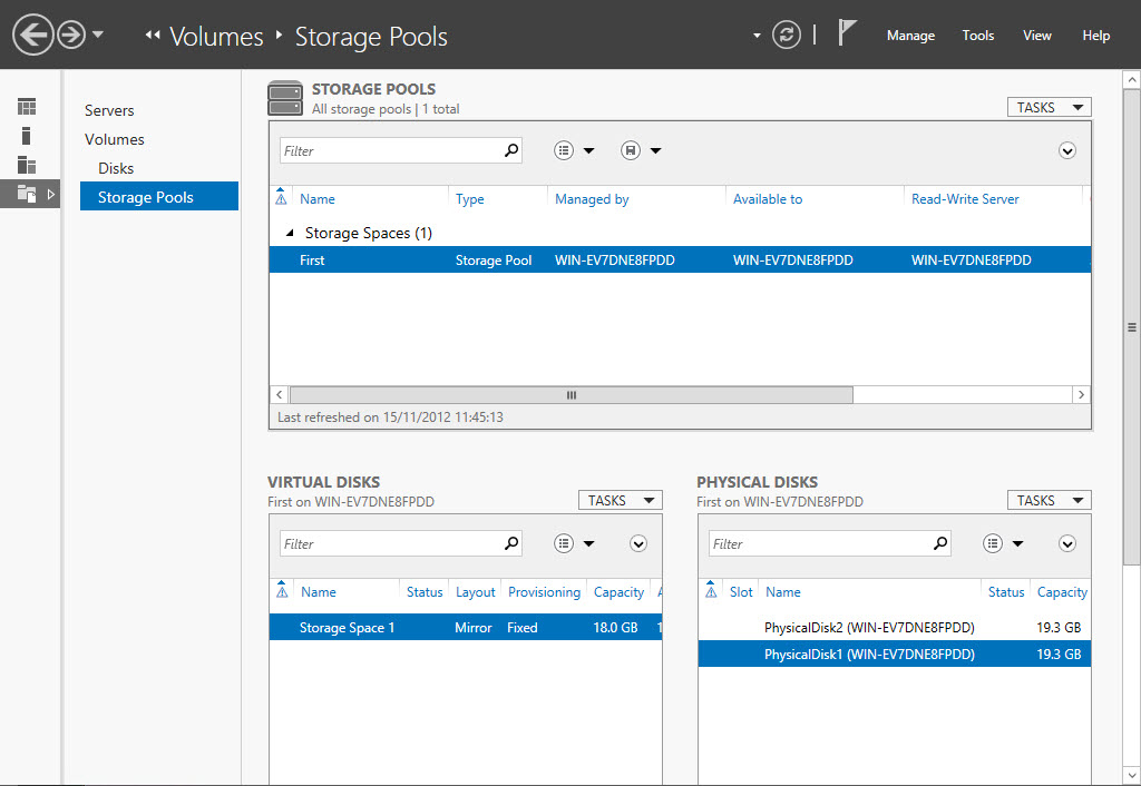 Windows Server 2012 new Storage Pool