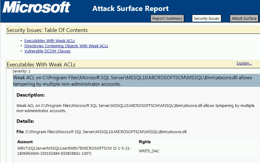 Microsoft Attack Surface Report
